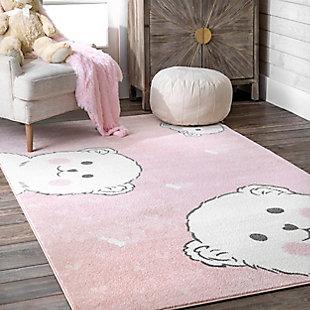 nuLOOM Harlee Blushing Bears NurseryRug, Pink, rollover