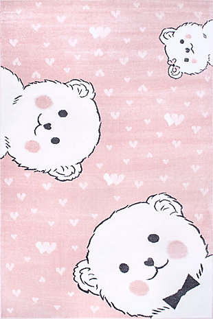nuLOOM Harlee Blushing Bears NurseryRug, Pink, large