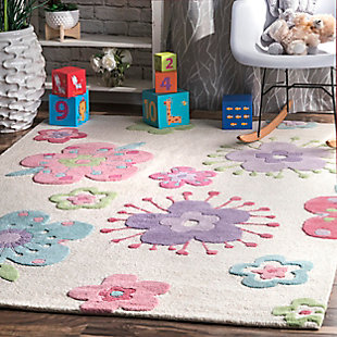 nuLOOM Handmade Louella Floral Rug, Off White, rollover