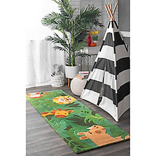 nuLOOM Hand Tufted King of the Jungle Rug, Green, rollover
