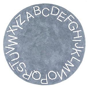 nuLOOM Kids Washable Round Alphabet Rug, Blue, large