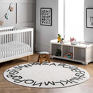 nuLOOM Kids Washable Round Alphabet Rug, Ivory, rollover