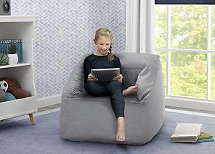 Delta Children Cozee Cube Chair, Kid Size, Gray, rollover