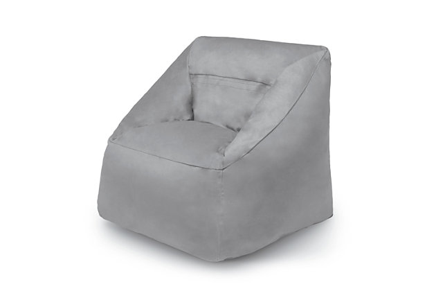 Delta Children Cozee Cube Chair, Kid Size, Gray, large