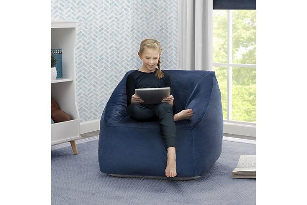 Delta Children Cozee Cube Chair, Kid Size, Blue, large