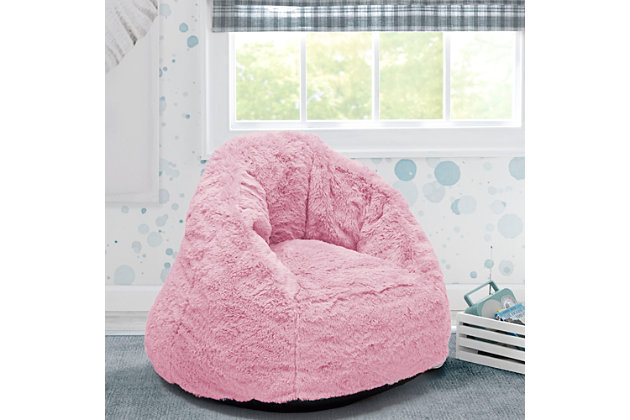 Delta Children Cozee Fluffy Chair, Kid Size, Pink, large