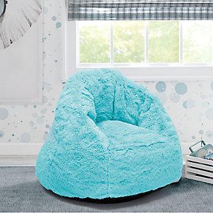 Delta Children Cozee Fluffy Chair, Kid Size, Aqua Blue, rollover