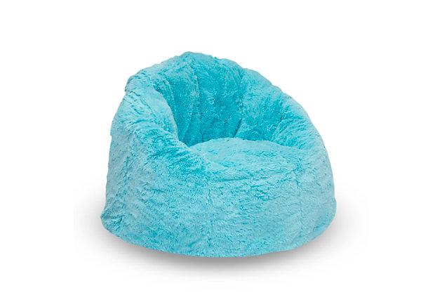 Delta Children Cozee Fluffy Chair, Kid Size, Aqua Blue, large