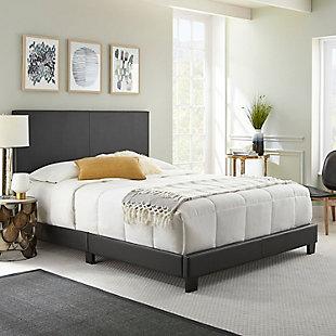 Fiona  King Upholstered Faux Leather Platform Bed, Black, rollover