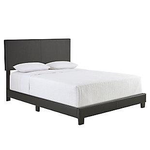 Fiona  King Upholstered Faux Leather Platform Bed, Black, large