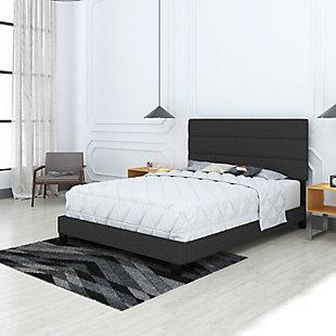 Harrianna Queen Upholstered Linen Platform Bed, Black, rollover
