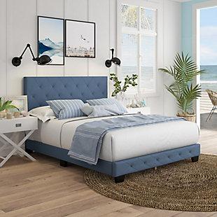 Lilou King Upholstered Linen Platform Bed, Blue, rollover
