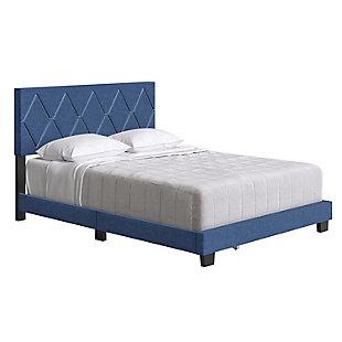 Destry  King Upholstered Linen Platform Bed, Blue, large