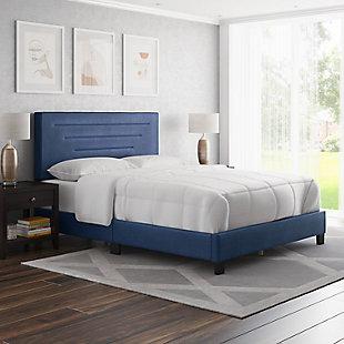 Aurelius  King Upholstered Faux Leather Platform Bed, Blue, rollover