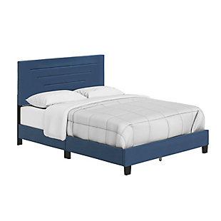 Aurelius  King Upholstered Faux Leather Platform Bed, Blue, large