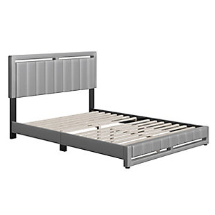 Roza  King Upholstered Faux Leather Platform Bed, Gray, large