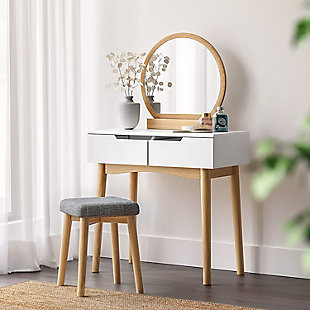 VASAGLE Vanity Set with Rounded Mirror, White/Natural, rollover