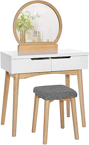 VASAGLE Vanity Set with Rounded Mirror, White/Natural, large