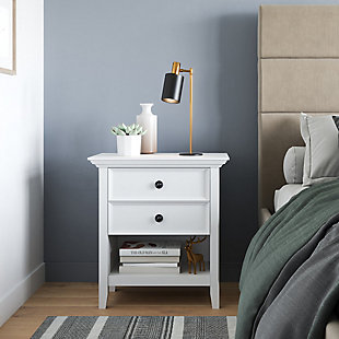 Simpli Home Transitional Nightstand, White, rollover