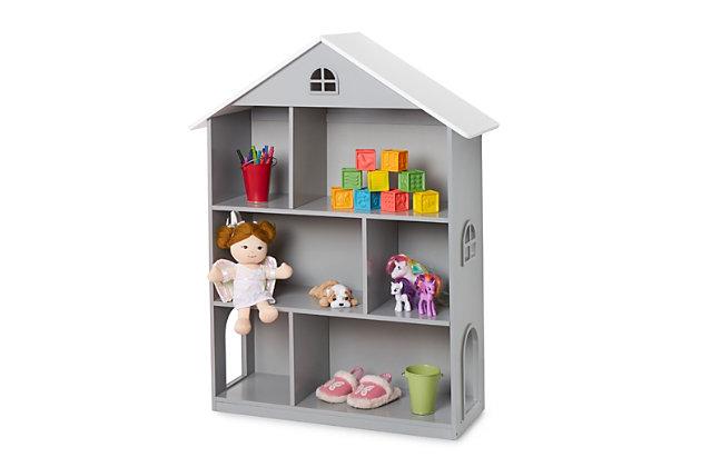 Wildkin Dollhouse Bookcase, Gray, large