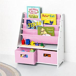 Wildkin Sling Bookshelf with Storage, Pink, rollover