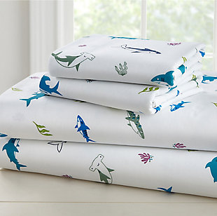 Wildkin Shark Attack Super Soft 100% Cotton Full Sheet Set, , large