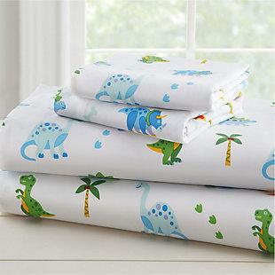 Wildkin Dinosaur Land 100% Organic Cotton Flannel Twin Sheet Set, , rollover