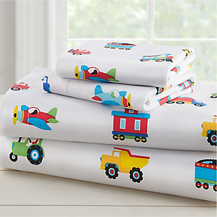 Wildkin Trains, Planes and Trucks 100% Organic Cotton Flannel Full Sheet Set, , rollover