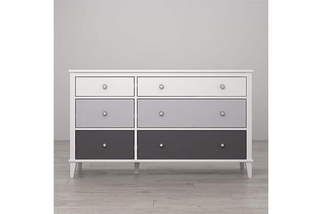 6 Drawer Monarch Hill Poppy Gray and White Dresser, Gray, large