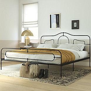 Primrose  Queen Metal Bed, Black, rollover