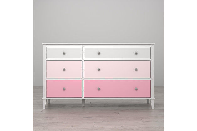 6 Drawer Monarch Hill Poppy Pink and White Dresser, Pink, large