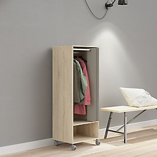 Lola 1 Shelf Armoire with Hanging Rod and Curtain, , rollover