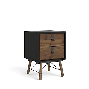 Ry  2 Drawer Nightstand, Black/Walnut, large