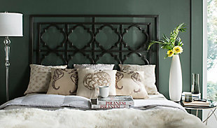 Kory Queen Metal Headboard, Gunmetal, rollover