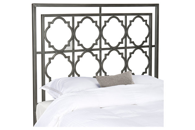 Kory Queen Metal Headboard, Antique Iron Finish, large