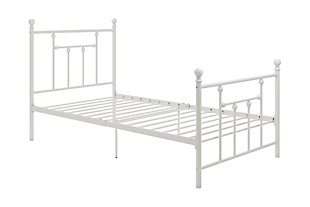 Manila Metal Twin Bed, White, rollover