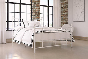 Manila Metal Full Bed, White, rollover