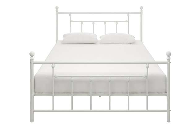 Manila Metal Queen Bed, White, large