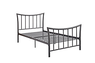 Caily Metal Twin Bed, Bronze, rollover
