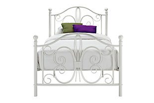 Bombai Metal Twin Bed, White, large