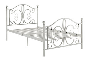 Bombai Metal Twin Bed, White, rollover