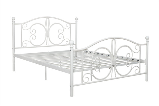 Bombai Metal Full Bed, White, large