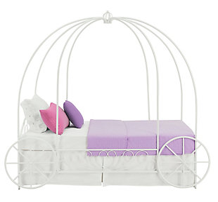 Metal Twin Carriage Bed, White, large