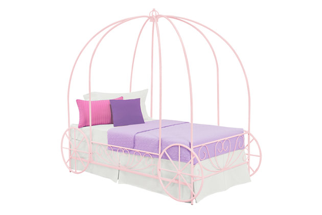 Metal Twin Carriage Bed, Pink, large