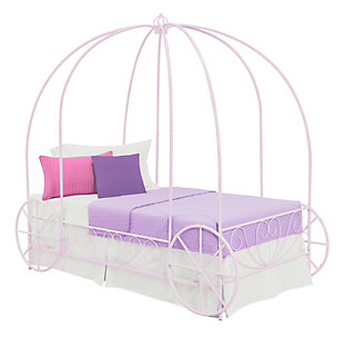 Metal Twin Carriage Bed, Purple, large