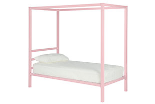 Modern Metal Canopy Twin Bed, Pink, large