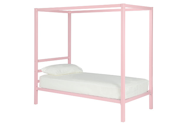 Modern Modern Metal Canopy Twin Bed, Pink, large