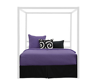 Modern Metal Canopy Queen Bed, White, large