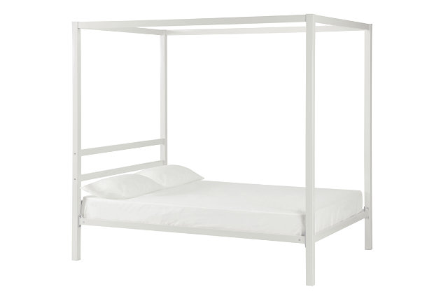 Modern Metal Canopy Full Bed, White, large