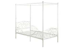 Canopy Twin Bed, White, rollover